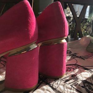 NEW Pink Suede Block Heel Pumps by Baldaccini